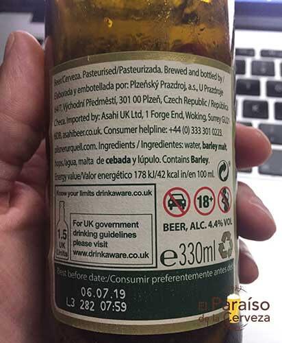 Pilsner Urquel cerveza republica checa botellin trasera El paraiso de la cerveza