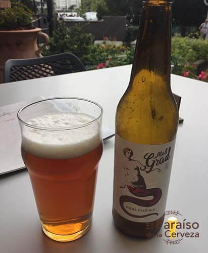 cerveza mad grad IPA eslovenia botellin y vaso el paraiso de la cerveza