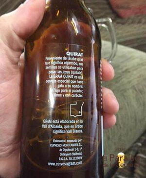 cerveza artesana Quirat Gram ontinyet valencia españa botellin trasera