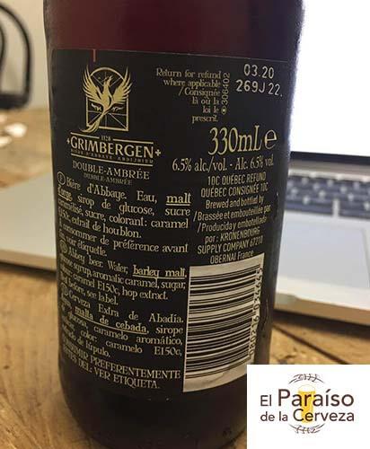 grimbergen-double-ambree belgica botellin trasera el paraiso de la cerveza