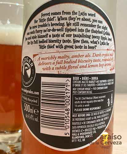 The Fursty Ferret cerveza inglesa Amber Ale de Reino Unido etiqueta