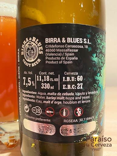 Cerveza Birra & Blues Doble IPA o Imperial IPA de Valencia en España