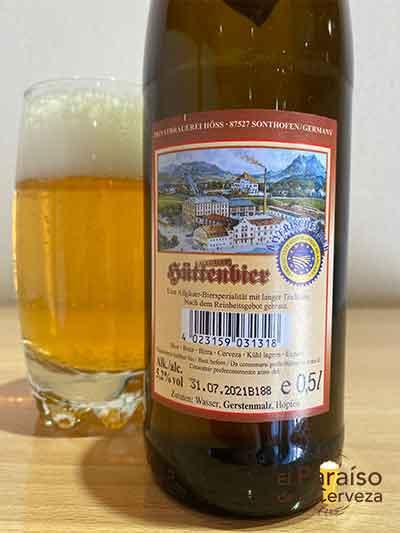 Höss Allgäuer Hüttenbier cerveza German Pilsen Alemania