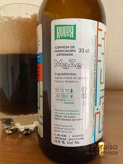 Maze Dark Mild Ale tostada de Cataluña España