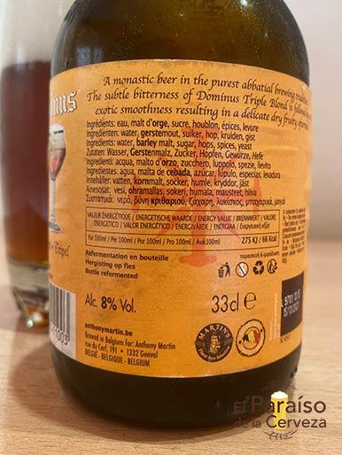 Cerveza Dominus Tripel belga de abadia etiqueta