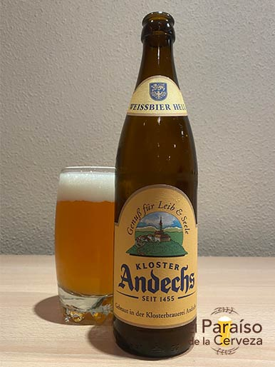 La cerveza Andechs Weissbier Hell bavara de alemania