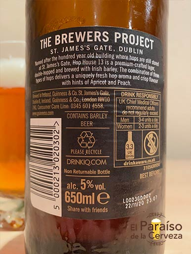 La cerveza Hope House 13 Lager de reino unido